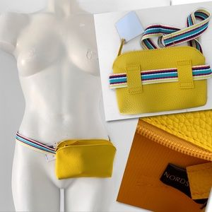 NORDSTROM LEATHER YELLOW RAINBOW STRAP FANNY PACK